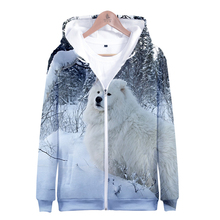 2019 hot sale Samoyed Zipper Jacket 3D Hoodies Sweatshirt Ha