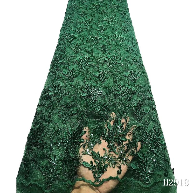 Afrikanische Spitze Stoff 2019 Hohe Qualität spitze Bestickt Grüne Französisch Spitze Stoff Nigerian Wasser Löslich Schnur Spitze Für Hochzeit