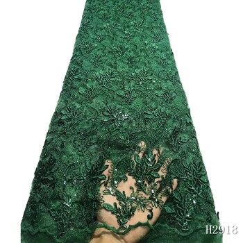 Afrykańska koronkowa tkanina 2019 koronka wysokiej jakości haftowana zielona francuska koronkowa tkanina nigeryjska przewód rozpuszczalny w wodzie koronkowa na ślub