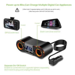 Image 5 - 3.5A Dual USB Auto Ladegerät Powstro mit Zigarette Leichter Buchse Led anzeige Ladegerät Für IPhone Xiaomi Auto Splitter Power Adapter