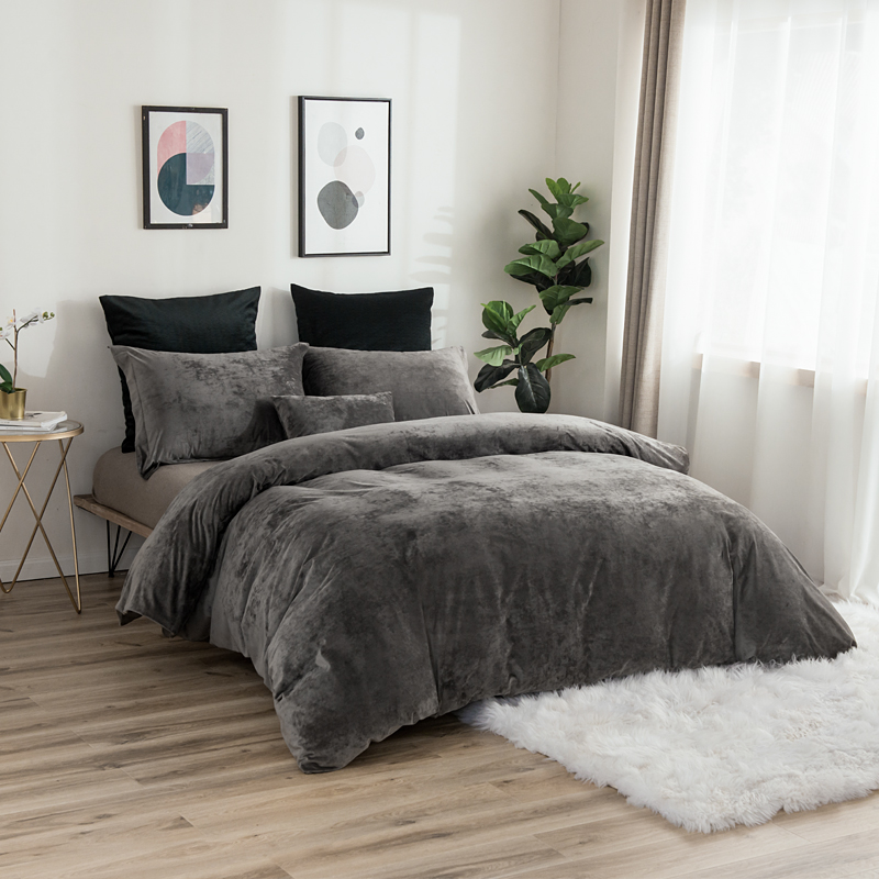 PHF Home Textile Nordic Double Bed Velvet Duvet Cover With Pillowcase King Queen Luxury Soft Bedding