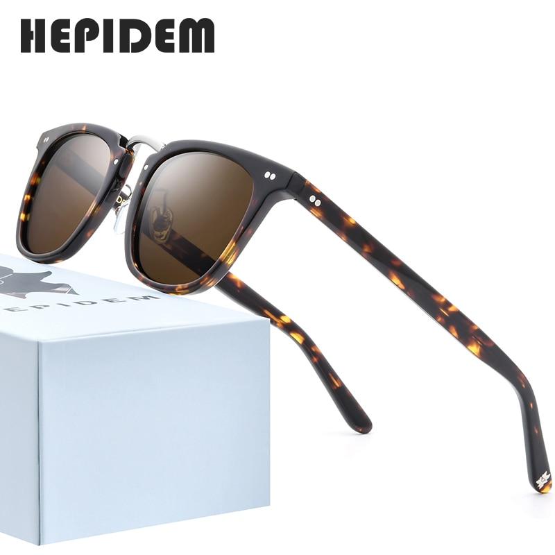 HEPIDEM Acetate Polarized Sunglasses 2020 New Women High Quality Fashion Sunglass Square UV400 Sun Glasses For Men 9126