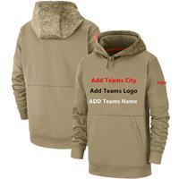 Custom Stock Men's USA Flag Tan 2019 Salute to Service Sideline Therma Pullover KO Performance Hoodie pocket Hoodies Sweatshirt