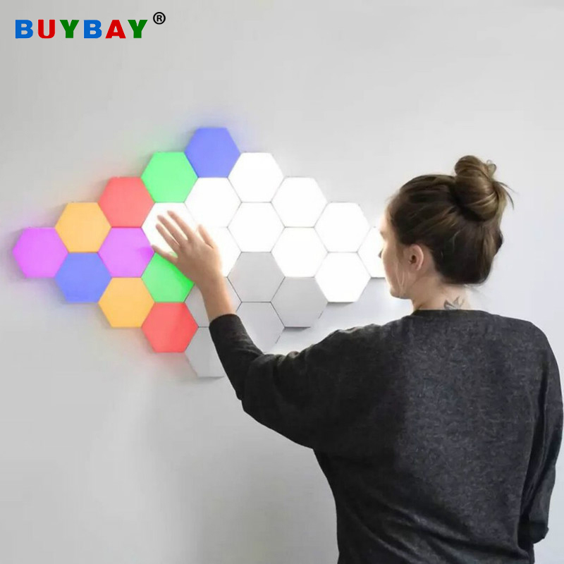 LED Hexagon Nightlight Quantum Lamp Modular Touch Sensitive Lighting Magnetic Modular Mood Light For Home Decor DIY Wall Lampara