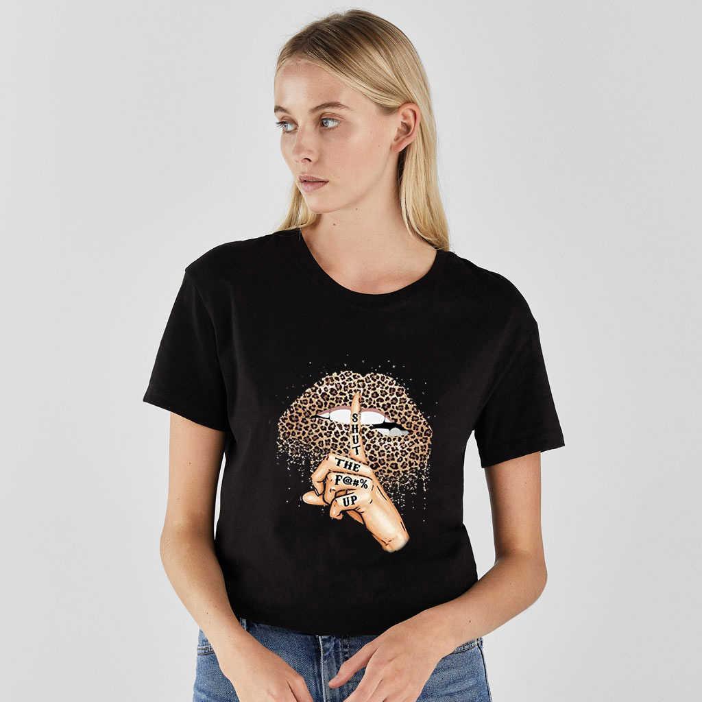 ผู้หญิง T เสื้อริมฝีปากเสือดาวพิมพ์ตลก labios เสื้อยืด Hipster ชุดผู้หญิง TShirt ฤดูร้อน leopardo Lip TEE เสื้อ Kleding Vrouwen