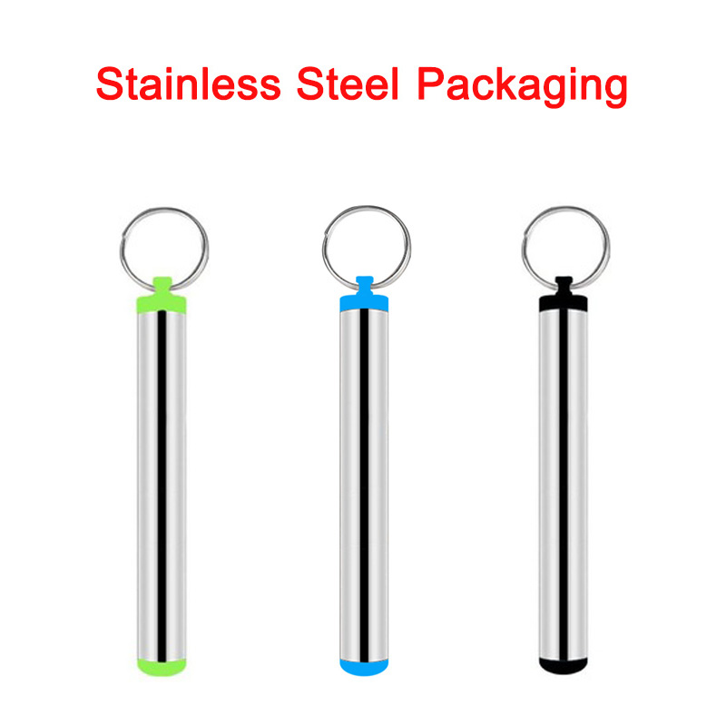 304 Food Grade Stainless Steel Packing with Keyring for Straws Easy Carrying in Drinking Straws from Home Garden