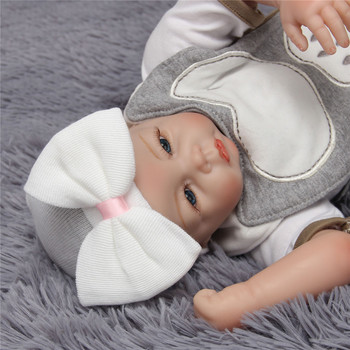 Infant Baby Hat Newborn Baby Beanie Cotton Knit Bowknot White Baby Caps Toddler Hat Infant Beanie Hat Baby Girl Boy Hat Cap image