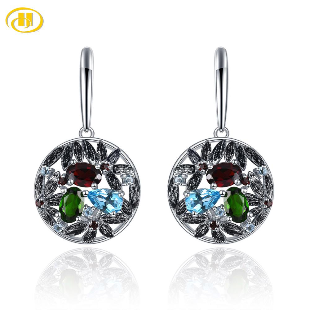 Natural Topaz Stud Earrings 925 Sterling Silver Gemstone Jewelry For Gift