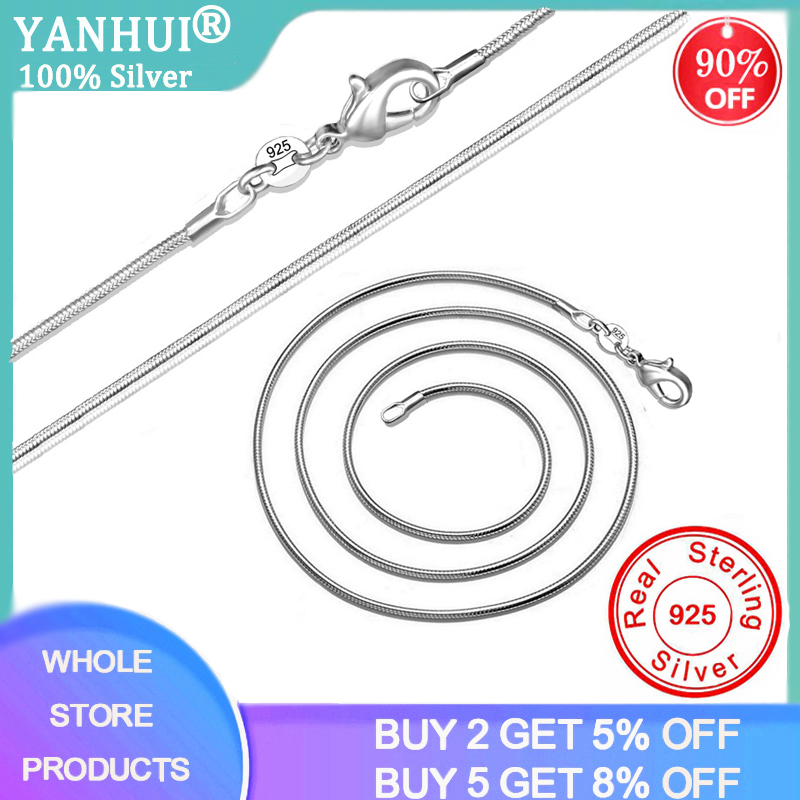 YANHUI Full Size 16-38inch Classic Basic Chain Thin 1MM 925 Sterling Silver Lobster Clasp Necklace Chain Fine Jewelry For Women