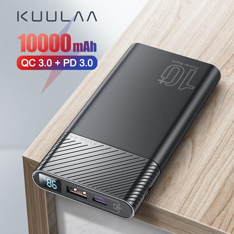 KUULAA Power Bank 10000mAh QC PD 3.0 PoverBank Fast Charging PowerBank 10000 mAh USB External Battery Charger For Xiaomi Mi 10