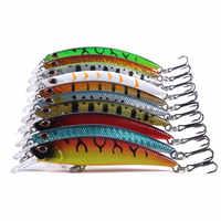 HENGJIA 8 centimetri 9g Minnow Duro Richiamo di Pesca Artificiale Sinking Bait 3D Occhi Wobblers Crankbait Topwater Esche di Plastica di Pesce pesca