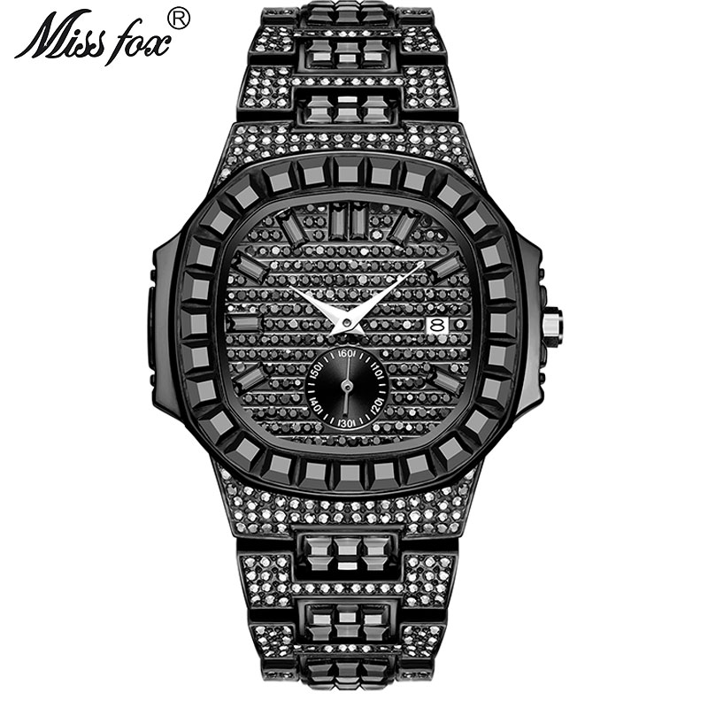 Famous Brand MISSFOX New Chronograph Men Stopwatch Fullly Iced Black Baguette Diamond All Black Steel Calendar Men Wrist Watch