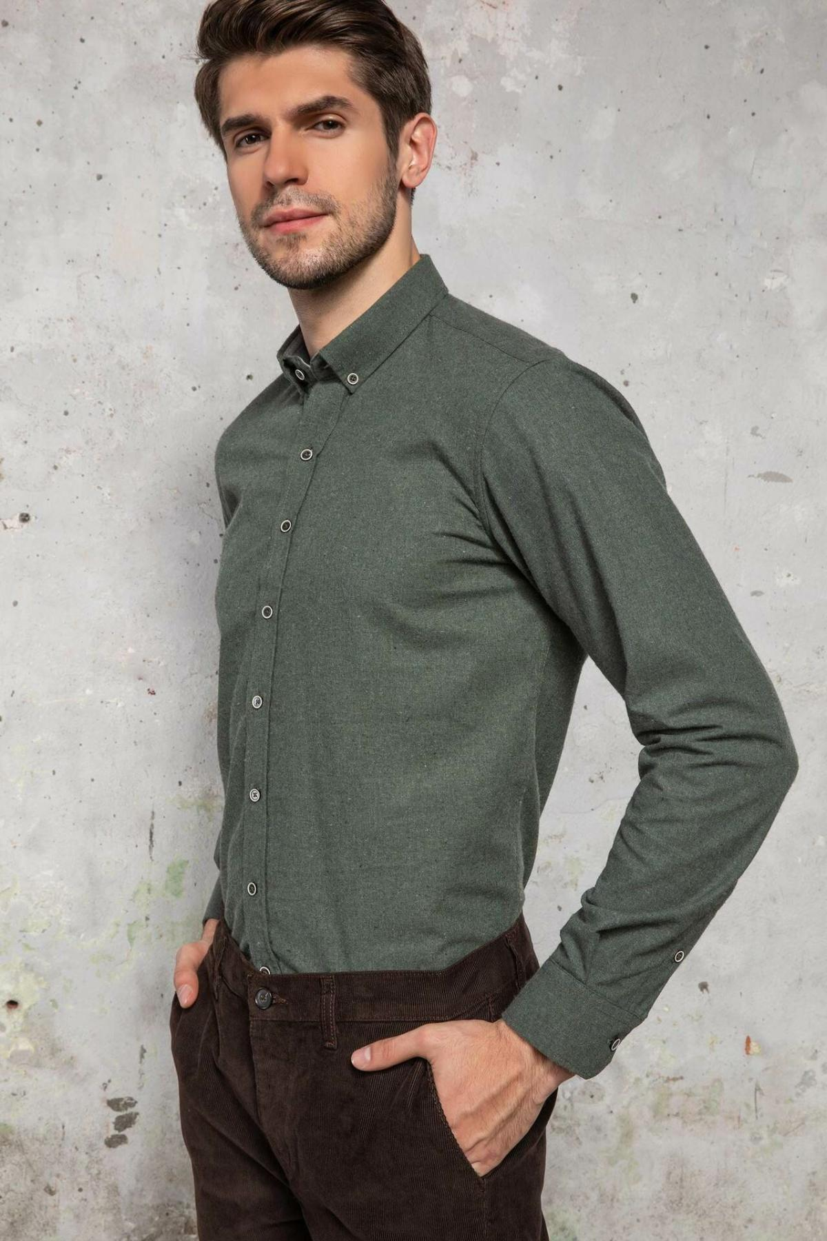 DeFacto Men Casual Pure Color Shirts Long Sleeve Shirts Mens Fashion Lapel Collar Shirt New - J0828AZ18WN