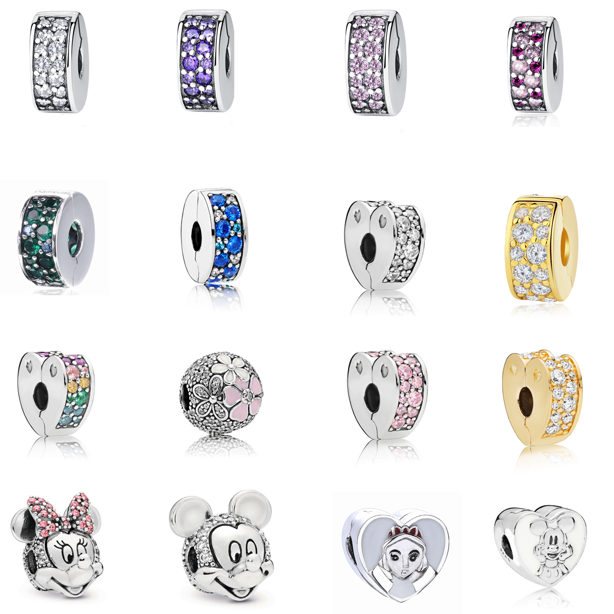 Free Shipping Authentic 925 Sterling Silver Shining Elegance Spacer Clip Charms Fit Original Pandora Bracelet Women Jewelry Bead(China)
