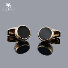 TOMYE Classic Brass Black Enamel Cufflinks Men Custom Wholesale XK19S110