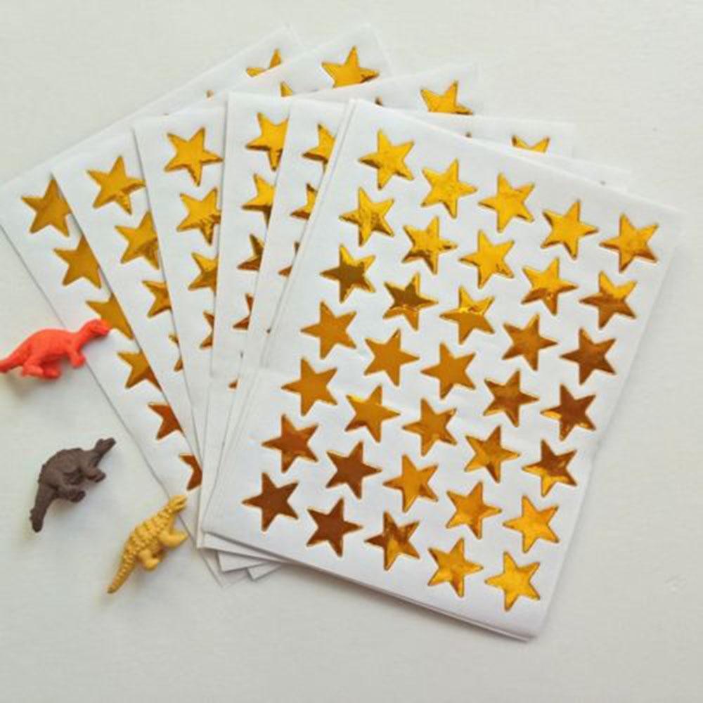 10PCS/PACK Mini Children's Gold  Rewards Pentagram Shiny Sticker Teacher Praise Label Award Five-pointed Star  Golden Cart