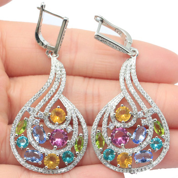 56x25mm Multi Color Long Big Aquamarine Tourmaline Tanzanite Citrine Gift For Ladies Silver Earrings