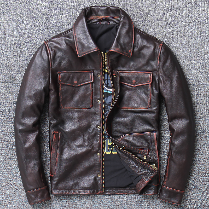 Free Shipping.2019 Brand New Cowhide Jacket,men Vintage Genuine Leather Biker Jacket.classic Casual Leather Coat,goathide Sales