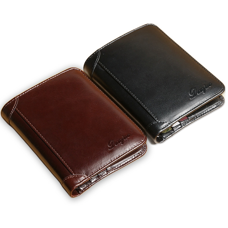 New Wallet For Men Genuine Cow Leather High Quality New Cowhide Purse Trifold Designer Business Card Holder Male