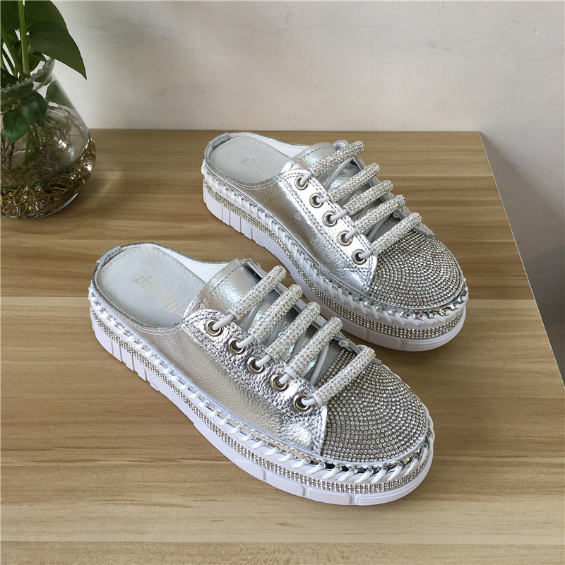 Genuine Leather Women Indoor Home Slipper Women Flat Slippers Slip On Fashion Luxury Loafers zapatos de mujer туфли женские обув