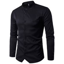 Shirts Men Solid 2019 Autumn Male Long Sleeve Slim Coverall Plus Size Smart Casual Hombre Fashion New MOOWNUC