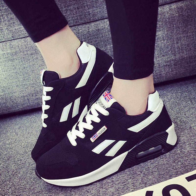 Baideng ผู้หญิง Air Cushion รองเท้าวิ่งรองเท้าคุณภาพสูงความสูงรองเท้าผ้าใบสีสันสดใสกีฬารองเท้า Breathable Trainers