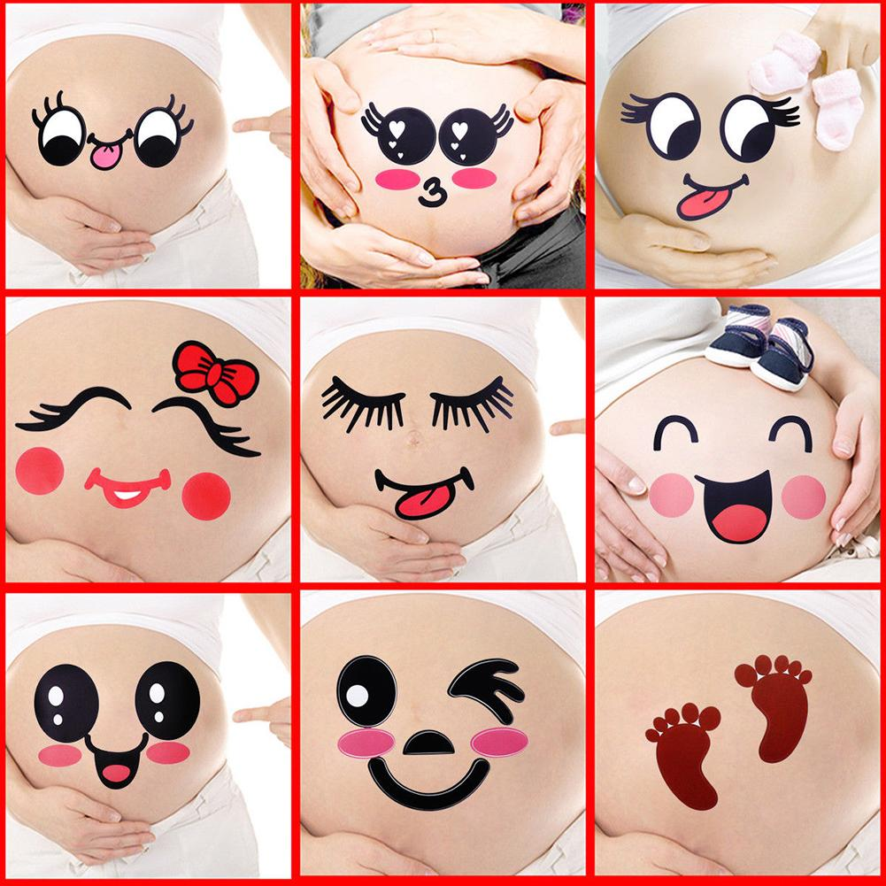 2Pcs Cute Cartoon Expression Pregnant Facial Stomach Belly Sticker Photo Prop