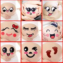 2Pcs Cute Cartoon Expression Pregnant Facial Stomach Belly Sticker Photo Prop(China)