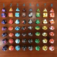 7 pçs/set dnd dice dados poliédricos mtg rpg jogos de tabuleiro cor misturada dados D4-D20 multifacetada entretenimento acessórios do jogo
