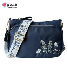Flor princesa bordado alça larga crossbody saco para mulher náilon casual bolsa de ombro bolsa mensageiro feminino uso diário