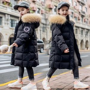 Image 4 - 2020 חורף חם ילדה למטה מעילים ארוך עיצוב ילדים למטה מעיילי מעיל אמיתי פרווה ילדי נער עבה למטה הלבשה עליונה 30 תואר