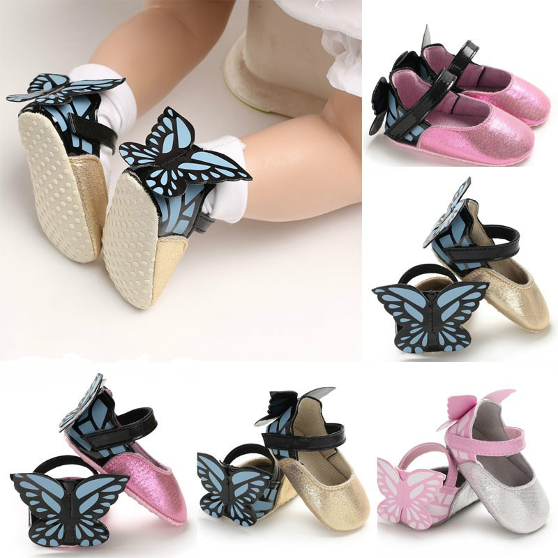 New Baby Shoes Newborn Kid Baby Girl Princess Shoes With Butterfly Wings Crib Shoes First Walkers