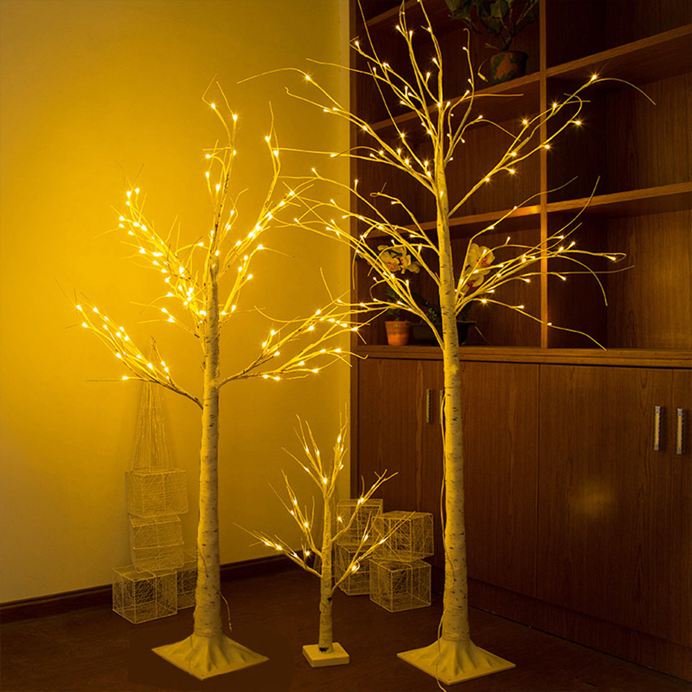 LED Silver Birch Lamp Christmas decorations for home EU Indoor Holiday light Creative Christmas tree lighting drop shipping