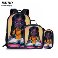 IMIDO African American Girls Art Backpack Bag School Mochila Feminina Rucksack Women back bag Backpack for Girls Plecak Damski