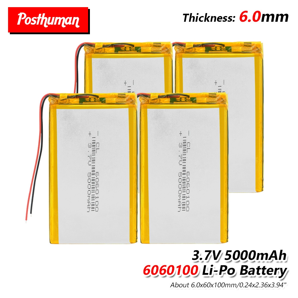 6060100 <font><b>3.7V</b></font> <font><b>5000mAh</b></font> <font><b>Lipo</b></font> <font><b>Battery</b></font> Replacement For Tablet GPS Electric Toys MP3 GPS iPad laptop E-book Portable Printer 1/2/4Pcs image