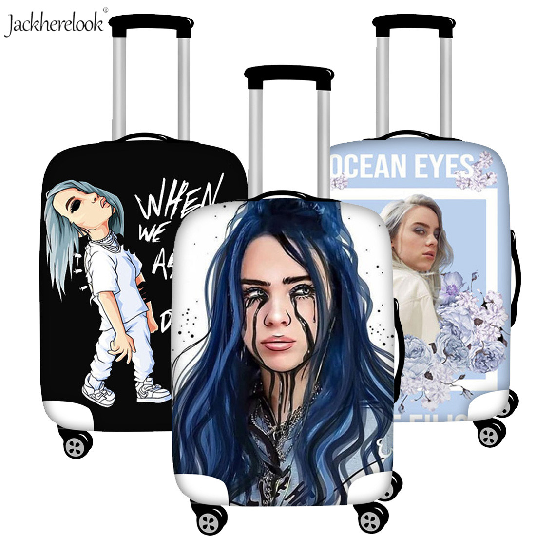 Billie Eilish Luggage Bag Cover Travel On Road Suitcase Dust Rain Proof Cover Elastic Protective Cover For Trunk Trolley Case
