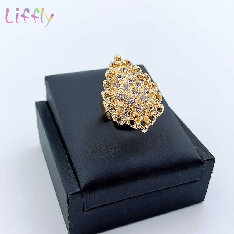 ใหม่แอฟริกันเครื่องประดับชุดดาวทองสร้อยคอสร้อยข้อมือต่างหูแหวนแฟชั่นดูไบอินเดีย Golden เครื่องประดับสำหรับผู้หญิง