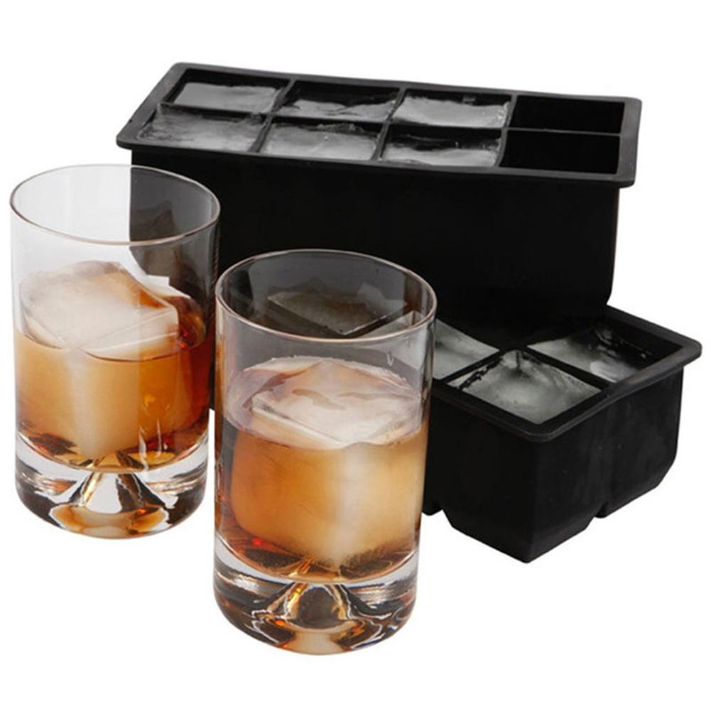 Black 8 Big Cubes Giant Jumbo Large Silicone Ice Cubes Square Tray Mold Mould  DIY Ice Maker Ice Cubes Tray Kitchen Tools