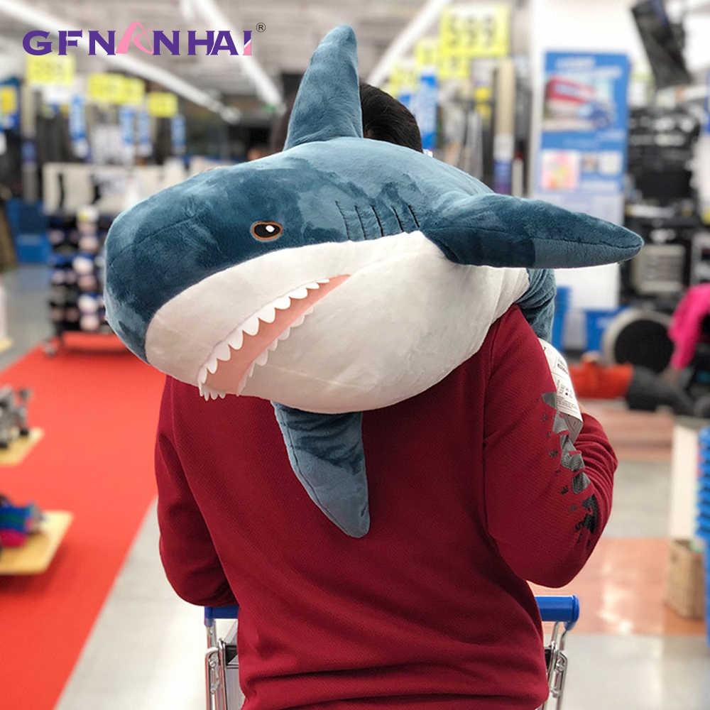 100/140CM Riesen Größe Plüsch Shark Haut Spielzeug Hohe Qualität Semi-fertig Produkt Simulation Shark Mantel Kissen für Kinder Geschenke