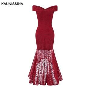 Image 2 - Kaunissina sereia vestidos de cocktail elegante renda magro fora do ombro sexy vestido de festa banquete sólidos vestidos de baile