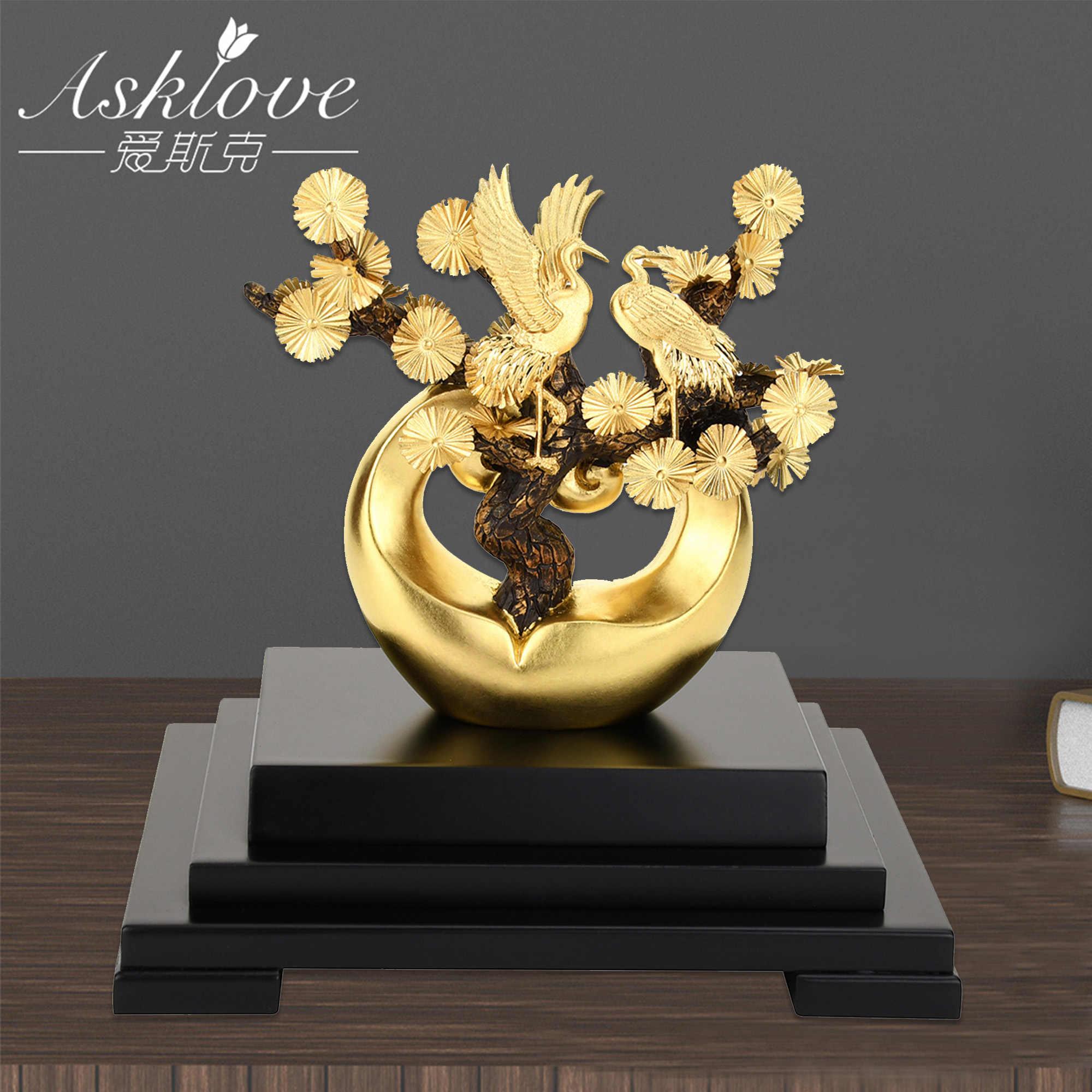 Oro albero di Pino Cinese Feng Shui Fortunato Statue di Lamina D'oro Scultura Rosso-gru coronata Figurine Artigianato Ornamenti Decorazione Della Casa