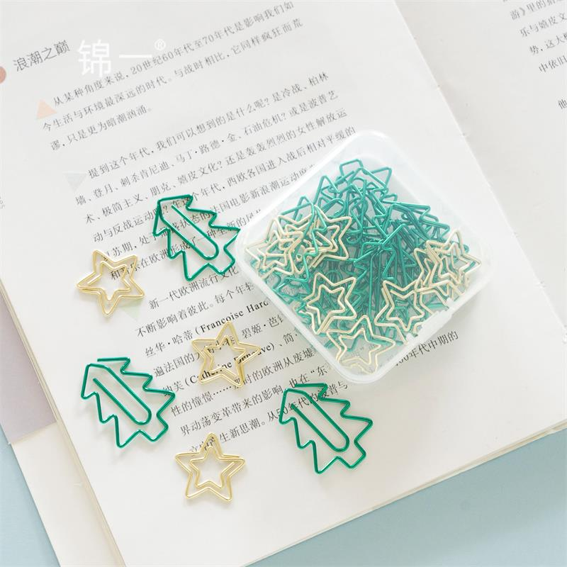 TUTU 25pcs/BOX Memo Paper Clips Christmas Tree Star Gold Clips For Photo Clips Clothespin Craft Decoration Clips Pegs H0329