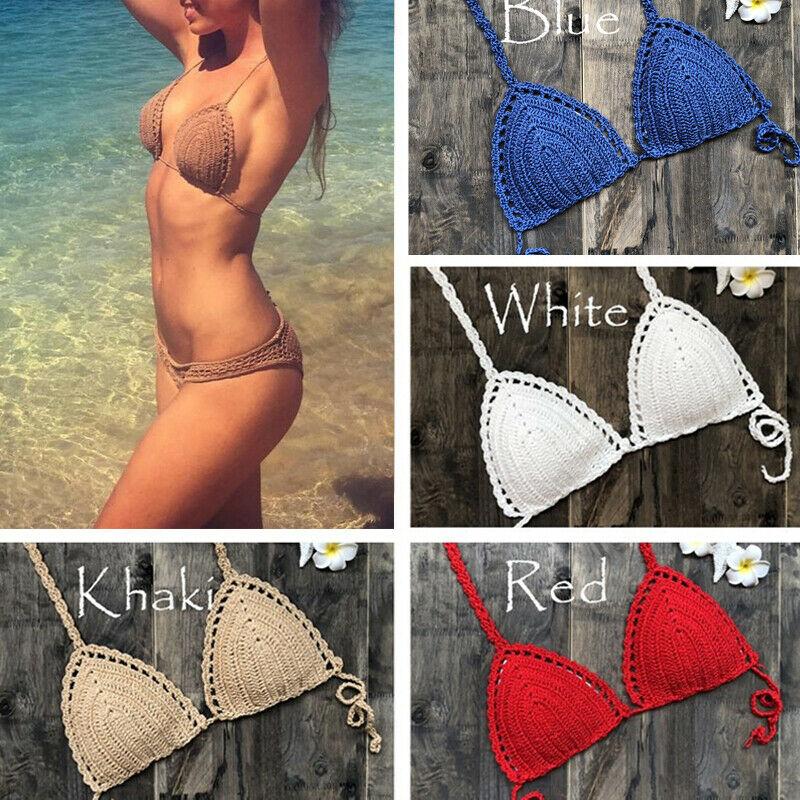 Women Crochet Bralette Knit Bra Boho Beach Woven Bikini Halter Cami Crop Top