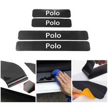 цена на Car Styling Door Sill Protector Stickers for Volkswagen POLO Anti Scratch Carbon Fiber Auto Door Sticker Decals Car Accessories