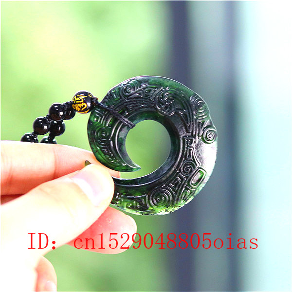Chinese Natural Black Green Jade Decorative Rune Pendant Beads Necklace Charm Jewelry Obsidian Double-sided Carved Amulet Gifts