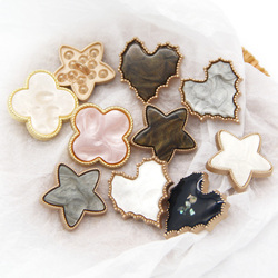 Heart Flower Star Clover love Gold Metal Buttons For Clothing Women coat Garment Decorative Imitation Shell Sewing Accessories