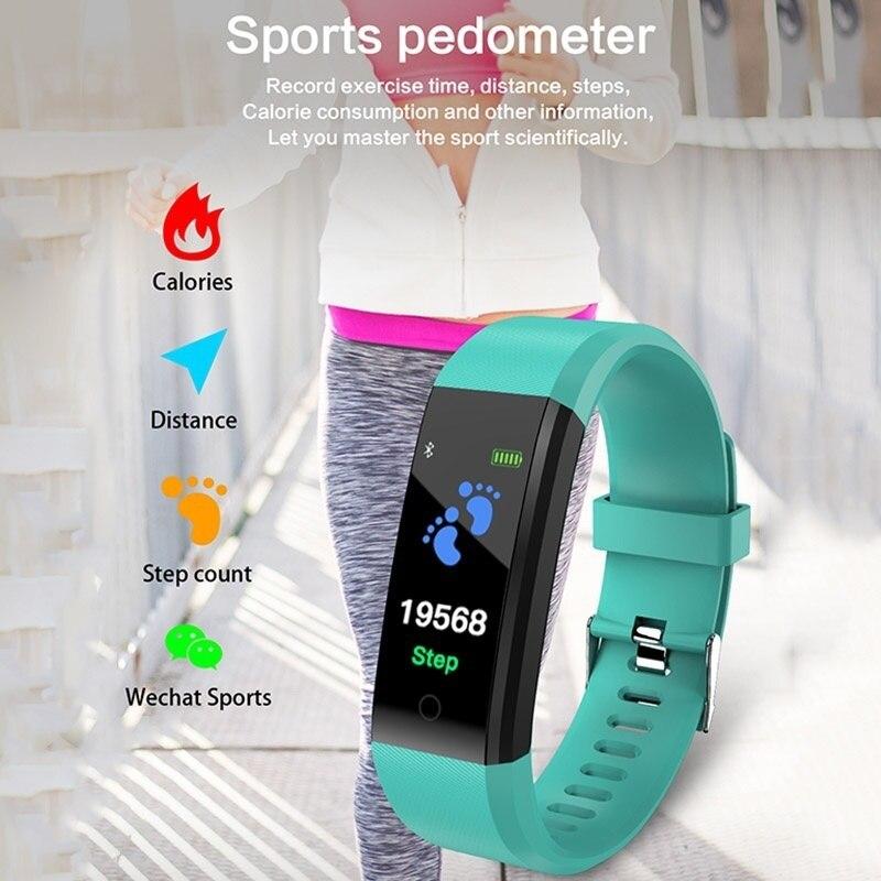 Smart Bracelet Watch for Men Women 115 Plus Smart Wristband Fitness Tracker Pressure Sport Watch Heart Smart Bracelet Watch for Men Women 115 Plus Smart Wristband Fitness Tracker Pressure Sport Watch Heart Rate Monitor Band A2