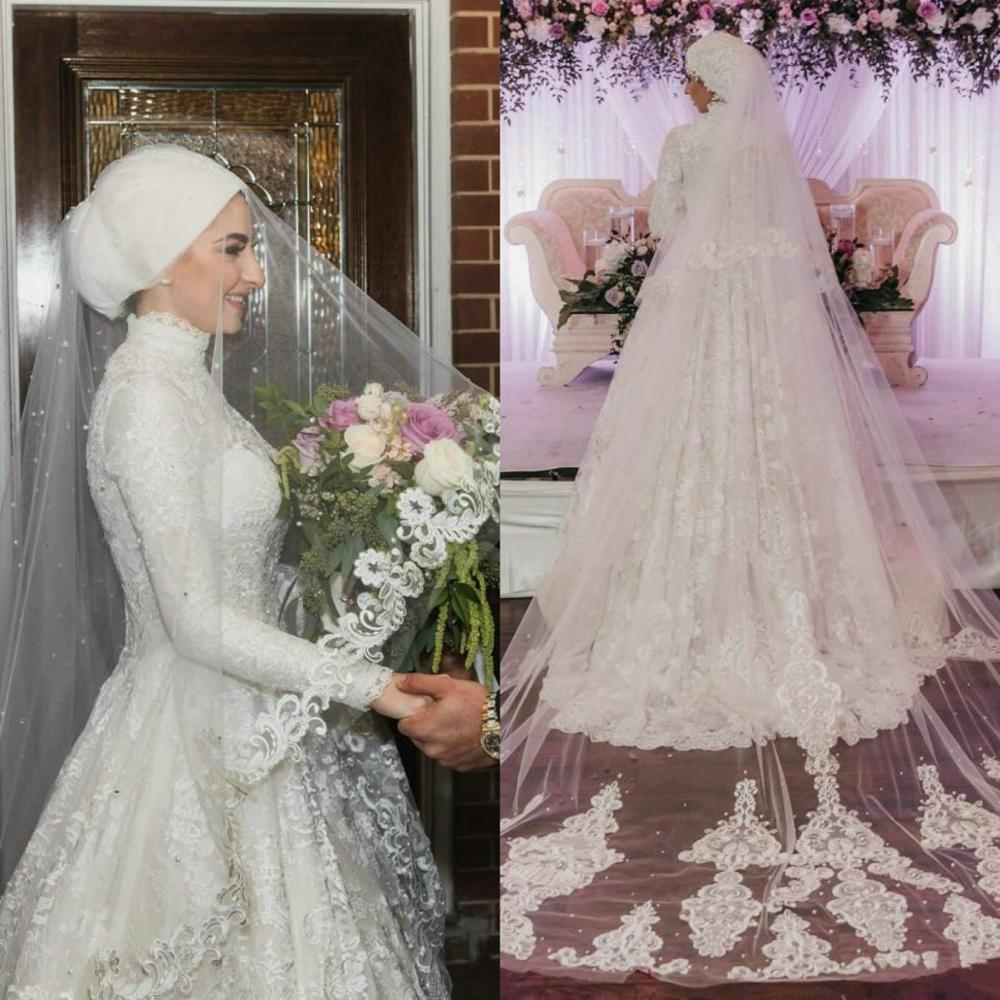 New Arrival Muslim Bridal Veils Netting Lace Edge One Layer Applique Beaded Wedding Veils Bride Wraps Free Shipping