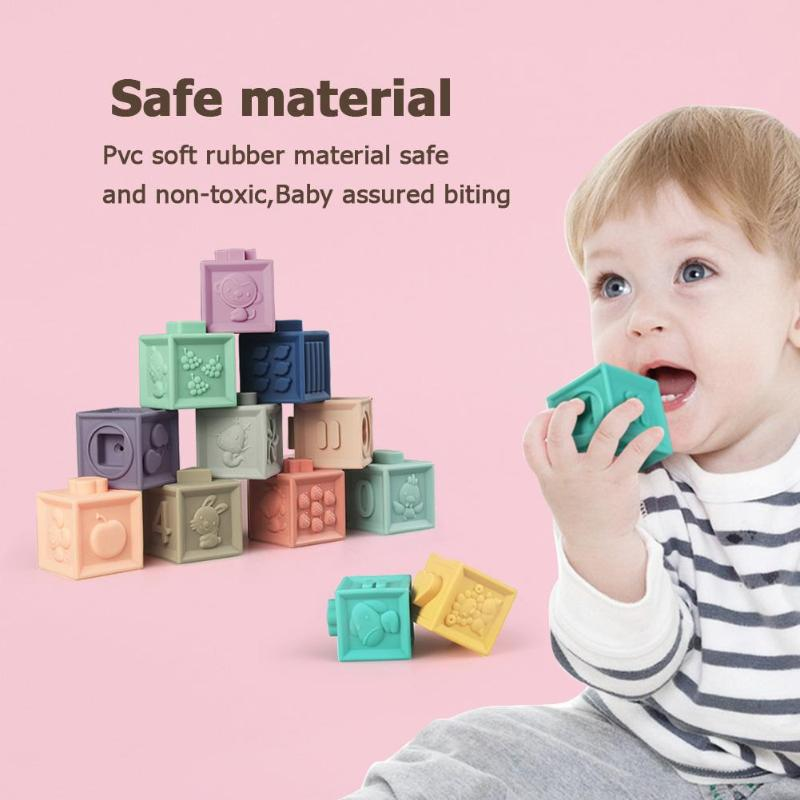 12pcs Baby Grasp Toy Building Blocks 3D Touch Hand Soft Balls Baby Massage Soft Rubber Teethers Squeeze Toy Bath Ball Toys