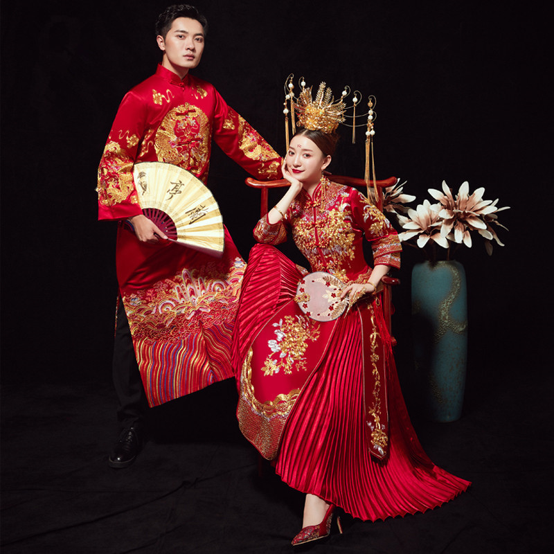 Smoking Masculino Time-limited Mao Suit Xiuhe Bride 2020 New Wedding Toast Under Chinese Style Clothes Kimono Skirt Show Female